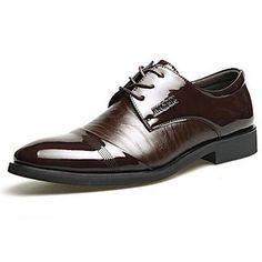 Chaussures Hommes Soirée & Evénement Noir / Marron Cuir / Cuir Verni Richelieu – USD $ 29.99