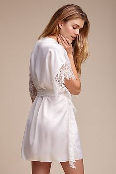Shop our vintage-inspired bridal lingerie collection. BHLDN offers a variety of wedding lingerie perfect for your wedding night and beyond! Bride Dressing Gown, Satin Dressing Gown, Wedding Night Lingerie, Bridal Lingerie, Formal Wedding Attire, Pajama Outfits, Lingerie Outfits, Bridal Robes, Selena