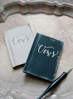 Personalized vow booklets: http://www.stylemepretty.com/maryland-weddings/churchville/2016/01/28/romantic-violet-smokey-charcoal-wedding-inspiration/ | Photography: Amelia Johnson - http://www.amelia-johnson.com/
