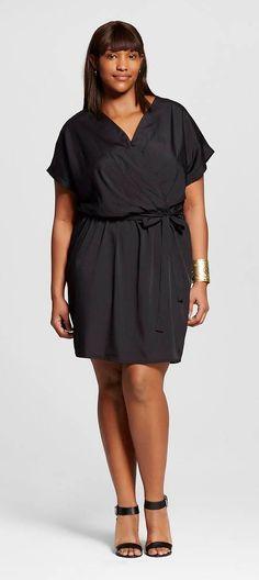 Plus Size Short Sleeve A-Line Dress