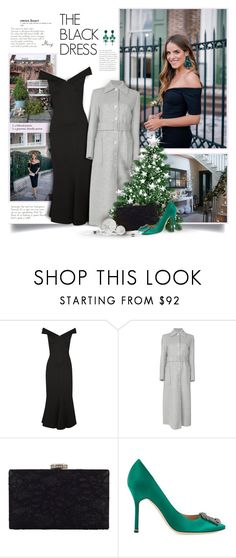 """The Black Dress"" by thewondersoffashion ❤ liked on Polyvore featuring Manolo Blahnik, Rosetta Getty, Helmut Lang, Chesca and Bounkit"