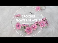 Crochet Bracelet Pattern, Crochet Cord, Bracelet Patterns, Crochet Necklace, Crochet Flower Tutorial, Crochet Flower Patterns, Crochet Flowers, Half Double Crochet, Single Crochet