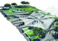 Arquitetura paramétrica na sede da UMCP . Landscape Architecture Model, Architecture Collage, Urban Landscape, Landscape Design, Urban Design Diagram, Archi Design, Urban Park, Parking Design, Urban Planning