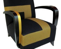 Chair ART DECO black and bronze