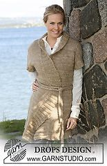 "Ravelry: 0-431 Jacket with short sleeves and rib in ""Silke-Tweed"" and ""Vivaldi"" pattern by DROPS design"