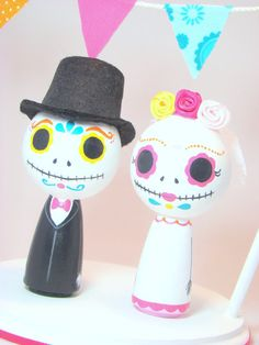 Day of the Dead Kokeshi Doll Wedding Cake Topper by Pegged on Etsy, $75.00
