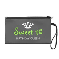 Sweet Sixteen Birthday Queen - Lime Green and Gray Wristlet