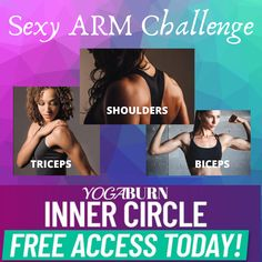 This month in the Inner Circle Coach Jamie has put together a 3 part series that was highly requested and does not disappoint!  Check out the 'Sexy Arm Challenge' for 10-minute workouts that are sure to surprise you with how simple yet effective they are at targeting all 3 areas of the arms – the SHOULDERS, the BICEPS, and the TRICEPS  And today you can join the YogaBurn Inner Circle FREE 💥 Tap the link to get this challenge started TODAY!  See you on the other side lovely! 🤗 Band Workouts, At Home Workouts, Arm Challenge, 10 Minute Workout, Inner Circle, Biceps, Burns, Join, How To Get