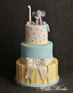 Baby Elephant 1st Birthday Cake by cakeworks