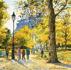 huariqueje: La Tour Eiffel vue des jardins du Champs de Mars - Aquarelle b.1962- Jean-Charles Decoudun français, 23x23cm