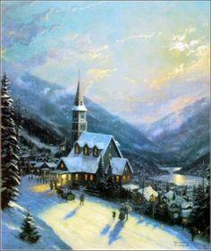 """Moonlight Village"" by Thomas Kinkade"