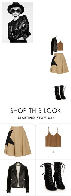 """leather jacket"" by noersidha ❤ liked on Polyvore featuring MSGM, Goroke, River Island, Nly Shoes, contest, Leather, leatherjacket, booties and estyle"