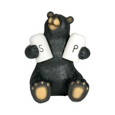 Cute Bear Holding Salt and Pepper Shakers