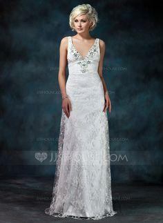 Sheath/Column V-neck Watteau Train Lace Wedding Dress With Ruffle Beading Bow(s) (002000229)
