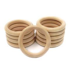Amyster 20pc 2.68 Inch 68mm Beech Wooden Ring Teether Baby Teething Toy Accessories Bracelet Eco-friendly Unfinished Wood Craft Baby Teether Toys (2.68inch)