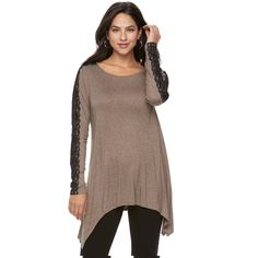 Women's Apt. 9® Handkerchief Hem Tunic, Size: Medium, Dark Beige