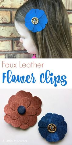 Hair Accessories Jewelry Quick and Easy Faux Leather Flower Clips made with a Cricut cutting machine. - Quick and Easy Faux Leather Flower Clips made with a Cricut cutting machine. Leather Diy Crafts, Leather Gifts, Leather Projects, Leather Jewelry, Leather Earrings, Handmade Leather, Leather Bags, Leather Crafting, Leather Totes