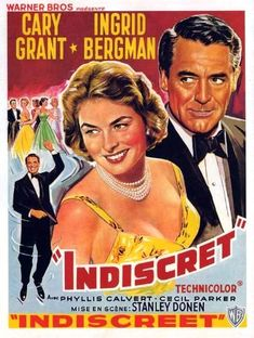 Indiscreet Cary Grant and Ingrid Bergman reunite for a charming romantic comedy. This is my all time favorite Cary Grant movie. Cary Grant, Old Movies, Vintage Movies, Great Movies, Film Vintage, Vintage Horror, Movies 2019, Love Movie, Movie Stars