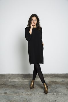 The post black sweater dress leggings bronze boots. appeared first on Dress Models. Fashion Mode, Work Fashion, Fashion Advice, Petite Fashion, Fashion Fashion, Fashion Ideas, Womens Fashion, Mode Outfits, Fall Outfits