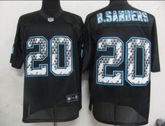 Sideline Black United Lions #20 Barry Sanders Black Stitched NFL Jersey