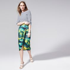 J.Crew Looks We Love: Women's Charlotte silk skirt in tropical yellow, 2-strap slide Boyd sandal in fresh cream and hinged bangle bracelet in gold.