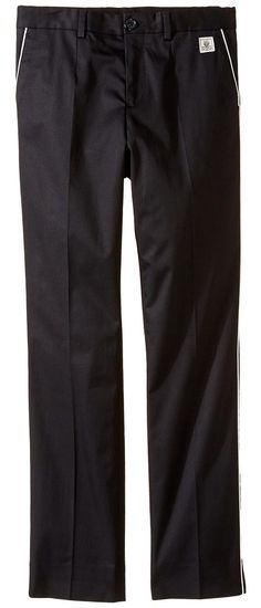 Dolce & Gabbana Kids Cotton Stretch Pants (Big Kids) (Black) Boy's Casual Pants - Dolce & Gabbana Kids, Cotton Stretch Pants (Big Kids), L42P16FUFGC-N0000, Apparel Bottom Casual Pants, Casual Pants, Bottom, Apparel, Clothes Clothing, Gift, - Street Fashion And Style Ideas