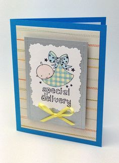 Handmade Baby Boy Special Delivery Greeting Card