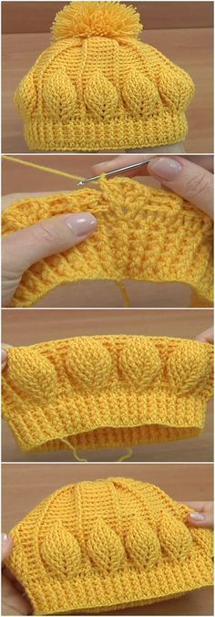 Crochet 3D Beanie Hat With Leaf Stitch