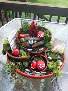 Cathy Strate's 'broken pot' garden was done with help from her grandchildren.