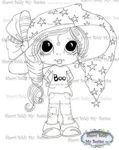 INSTANT DOWNLOAD Digital Digi Stamps Big Eye Big Head Dolls DigiBanana Pie Besite Trixie Boo By Sherri Baldy