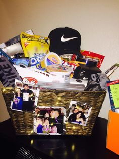 Anniversary Gift Basket I Put Together For My Husband Full Of His Favorite Products And Snacks Added In 3 Pics From Our Wedding Cant Wait Him To