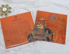 Royal Indian wedding invitation in beautiful orange colour Indian Wedding Invitation Cards, Wedding Invitations Online, Wedding Invitation Design, Wedding Stationery, Royal Indian Wedding, Business Card Design, Orange Color, Prints, Beautiful
