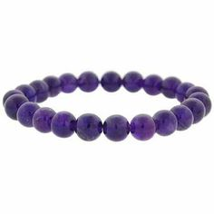 Genuine Amethyst Stone 8mm Bead Beaded Stretch Bracelet SilverSpeck.com. $7.99