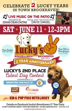 Join us at Lucky's Brookhaven this Saturday from 12-3 pm for great music, delicious burgers and ice-cold beer... Don't forget to bring your pup for Lucky's cutest dog contest! #summerfun #livemusic #bestburgeratl