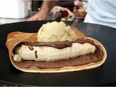 Nutella and banana crepe with ice cream