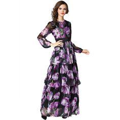 6dcd9b7e865 Gold House Women s Long Sleeve Violet Print Elegant Chiffon Tiered Maxi  Dress. Ideal Fashion