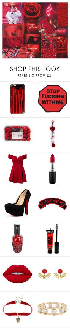 """Jimin - Red"" by k-pop-things-and-such ❤ liked on Polyvore featuring Casetify, ASOS, Dirty Pretty Things, Forever Unique, MAC Cosmetics, Sourpuss, Lime Crime, Ottoman Hands, Lele Sadoughi and Oscar de la Renta"