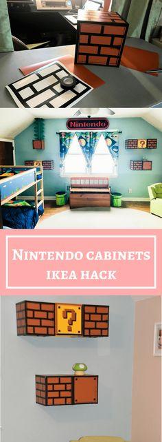 Nintendo Cabinet for a Nintendo Room Makeover – IKEA hacker, - DIY Kinderzimmer Ideen Boys Game Room, Boys Room Decor, Boy Room, Nintendo Decor, Nintendo Room, Gamer Bedroom, Kids Bedroom, Girl Bedrooms, Mario Room