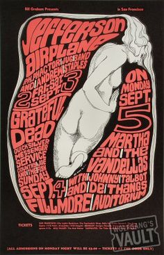 Fillmore Auditorium Jefferson Airplane, Grateful Dead, Quicksilver Messenger Service, Country Joe & the Fish, Martha & the Vandellas Art Poster Wes Wilson Hippie Posters, Rock Posters, Band Posters, Music Posters, Vintage Concert Posters, Vintage Posters, Wes Wilson, Concert Rock, Psychedelic Music