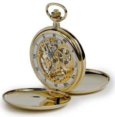 Rapport of London Gold Plated Double Hunter Pocket Watch with Skeletonized 17 Jewel Movement