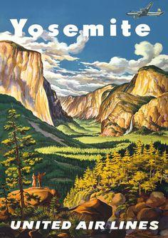 Vintage Airlines Yosemite National Park America Travel Poster