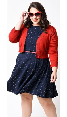 Plus Size Red Three-Quarter Sleeve Button Up Crop Cardigan