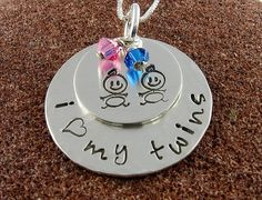I Heart My Twins Pendant  Babies by ChipmunkHollow on Etsy, $39.00