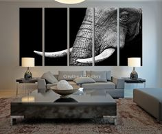 Canvas Art Print - Wild Old Elephant Face Wall Art Canvas Print, Ivory Canvas Print, Large Wild Elephant Canvas Print, For Great Wall Decor