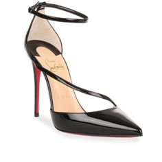 Christian Louboutin Fliketta 100 Patent Black Pump (15,475 HNL) ❤ liked on Polyvore featuring shoes, pumps, heels, louboutin, black, black high heel pumps, heels stilettos, black pumps, pointy-toe pumps and high heel stilettos