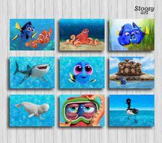 finding dory print set of 9 nursery nautical set disney print set pixar art disney gifts