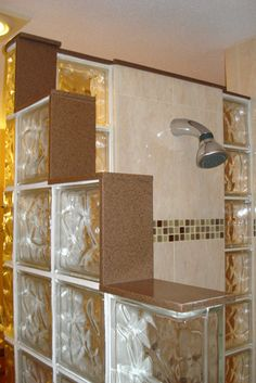 Glass Brick Shower Designs | barrier free tiled shower with glass mosaic listello and glass block ...
