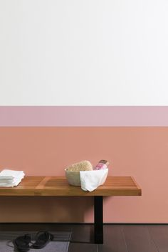 Soften up your bathroom with blush tones such as Copper Blush and Soft Cinnebar. A striking two-tone wall effect keeps things looking cool and crisp.