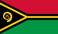 National flag of Vanuatu from http://www.flagsinformation.com/vanuatu-country-flag.html  Two equal horizontal bands of red (top) and green with a black isosceles triangle (based on the hoist side) all separated by a black-edged yellow stripe in the shape of a horizontal Y (the two points of the Y face the hoist side and enclose the triangle); centered in the triangle is a boar's tusk encircling two crossed namele leaves, all in yellow.