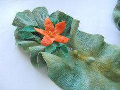 Felted scarf - green Orange flower | hand dyed, wet felting,… | Flickr